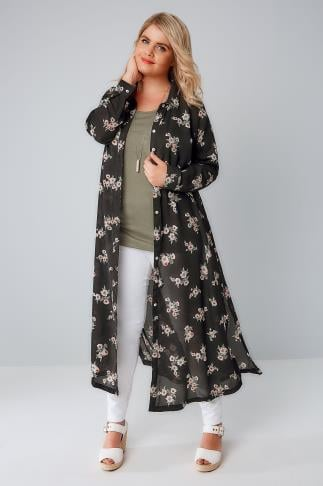 Shirts Black & Multi Floral Print Maxi Duster Shirt 156101