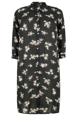 Black & Multi Floral Print Maxi Duster Shirt