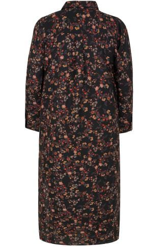 Blouses & Shirts Black & Multi Floral Print Maxi Shirt Dress 156174