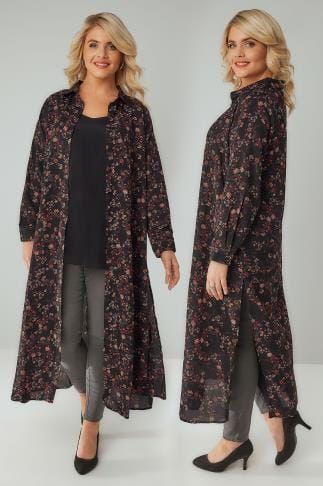 Blouses & Shirts YOURS LONDON Black & Multi Floral Print Maxi Shirt Dress 156174