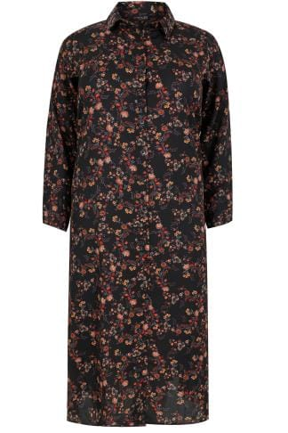 YOURS LONDON Black & Multi Floral Print Maxi Shirt Dress
