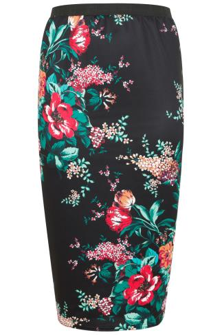 Black & Multi Floral Print Oriental Scuba Pencil Skirt