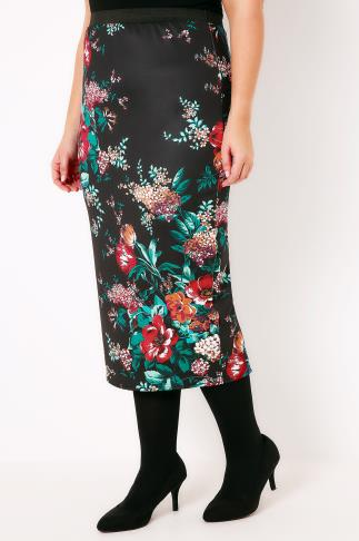 Pencil Skirts Black & Multi Floral Print Oriental Scuba Pencil Skirt 160003