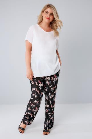 Black & Multi Floral Print Palazzo Trousers With Elasticated Waist 142003