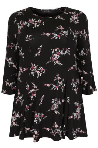 Black & Multi Floral Print Peplum Top With Frill Cuffs
