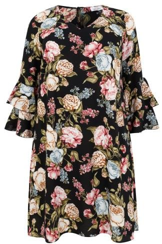 YOURS LONDON Black & Multi Floral Print Shift Dress With Layered Flute Sleeves