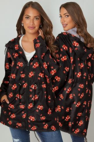 Waterproof & Shower Resistant Jackets Black & Multi Floral Print Shower Resistant Pocket Parka With Hood 120047