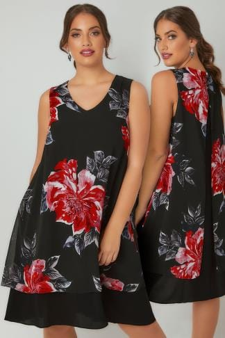 Swing & Shift Dresses Black & Multi Floral Print Sleeveless Chiffon Layered Dress 136168
