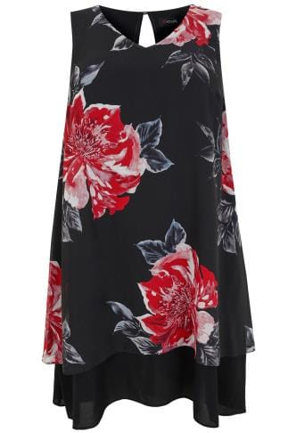 Black & Multi Floral Print Sleeveless Chiffon Layered Dress