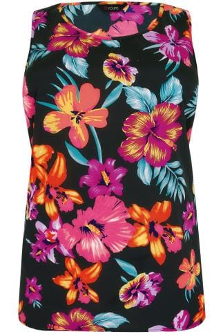 Black & Multi Floral Print Sleeveless Top