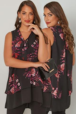 Blouses Black & Multi Floral Print Swing Blouse With Pussy Bow Tie 130180