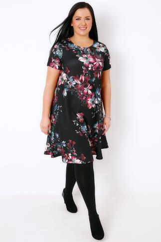 Swing & Shift Dresses Black, Pink & Teal Floral Print Swing Dress 136003