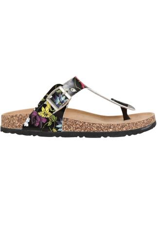 Black & Multi Floral Print Toe Post Cork Effect Sandals In EEE Fit 056754