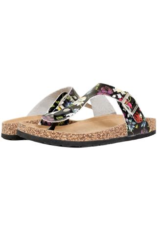 Wide Fit Sandals Black & Multi Floral Print Toe Post Cork Effect Sandals In EEE Fit 056754