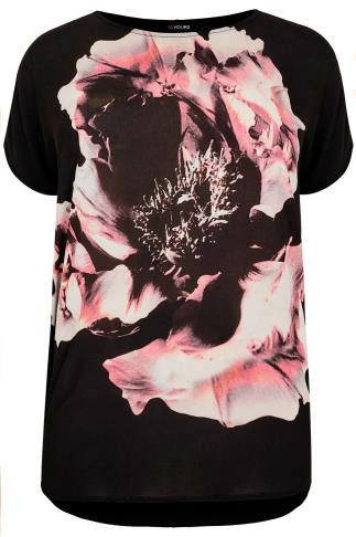 Black & Multi Floral Print Top With Curved Hem