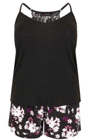 Black & Multi Floral Print Vest & Shorts Set With Lace Detail