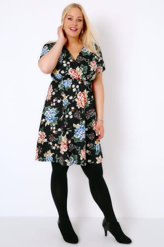 Black & Multi Floral Skater Dress With Wrap Front