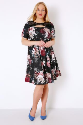 Black & Multi Floral Swing Dress With Cut Out Neckline & Lace Panel