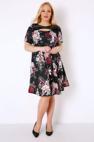 Black & Multi Floral Swing Dress With Cut Out Neckline & Lace Panel 136017