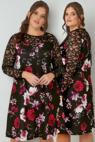 Trapeze Black & Multi Floral Swing Dress With Lace Yoke & Sleeves 136193
