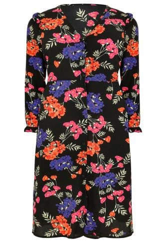 Black & Multi Floral V-Neck Button Up Midi Dress With Frill Detail & Side Splits