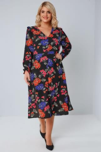 Midi Dresses Black & Multi Floral V-Neck Button Up Midi Dress With Frill Detail & Side Splits 170308