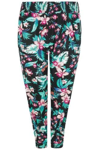Black & Multi Hibiscus Palm Print Harem Trousers