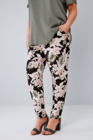 Slim Fit Black & Multi Jungle Floral Print Tapered Trousers With Tie Waist, Plus size 16 to 36 144008