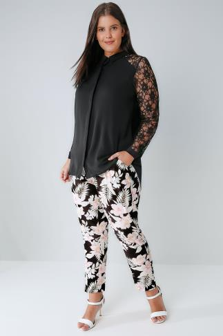 Black & Multi Jungle Floral Print Tapered Trousers With Tie Waist 144008