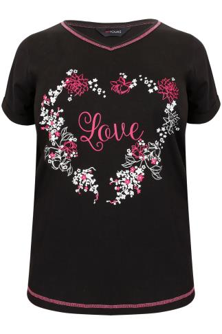 "Black & Multi ""Love"" Floral Heart Print Pyjama Top"