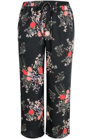Black & Multi Oriental Print Palazzo Trousers With Elasticated Waist