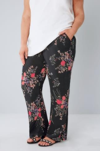 Wide Leg & Palazzo Black & Multi Oriental Print Palazzo Trousers With Elasticated Waist 142036