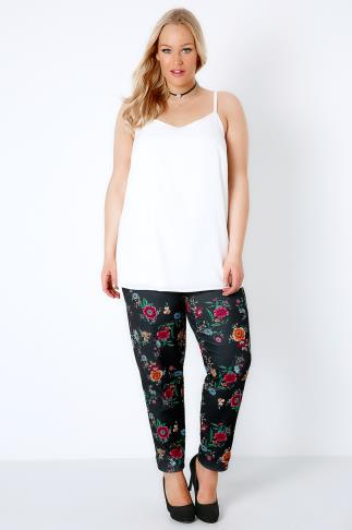 Black & Multi Pretty Floral Embroidery Effect Print Trousers 156133