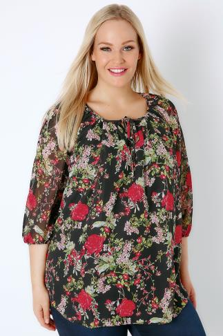 Blouses Black & Multi Rose Print Chiffon Blouse 170105
