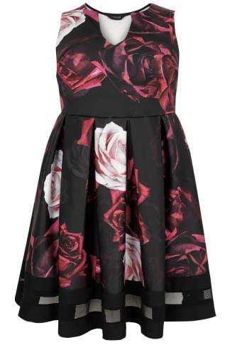 Soiree Black & Multi Rose Print Skater Dress With Notch Neck & Mesh Panel 136179