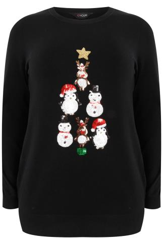 Black & Multi Sequin Christmas Character Pyramid Jumper