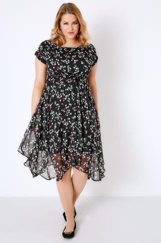 Black & Multi Spot Print Floaty Midi Dress With Hanky Hem 136011
