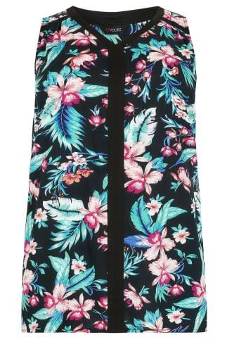 Black & Multi Tropical Floral Print Sleeveless Top With Contrast Trim