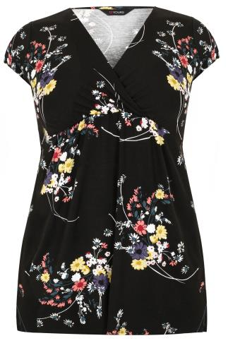 Black & Multi Vintage Floral Print Wrap Front Top