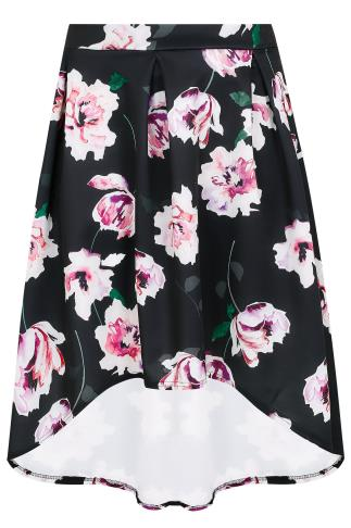 Black & Multi Watercolour Floral Print Hi-Lo Skirt