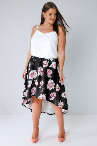 Black & Multi Watercolour Floral Print Hi-Lo Skirt 156136