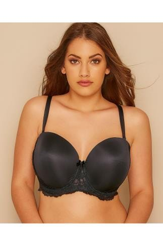 Moulded Bras Black Multiway Microfibre Lace Bra With Removable Straps 055257