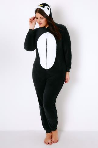 Black Novelty Penguin Onesie With Hood & Zip-Up Front