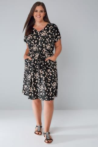 Sleeved Dresses Black & Nude Heart Print Dress With Pockets & Elasticated Waistband 136134