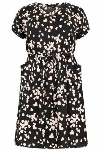 Black & Nude Heart Print Dress With Pockets & Elasticated Waistband