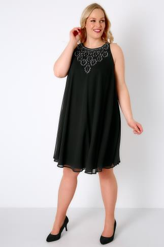Black Ofilia Swing Dress With Embellished Neckline
