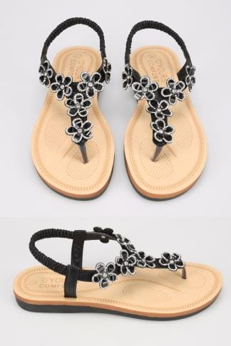 f8bc407f1417 Black Open Toe Sandals With Embellished Floral Straps In TRUE EEE Fit