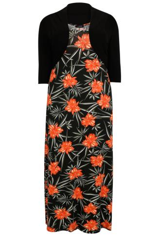 Black, Orange & Green Floral Print Maxi Dress With Black Shrug