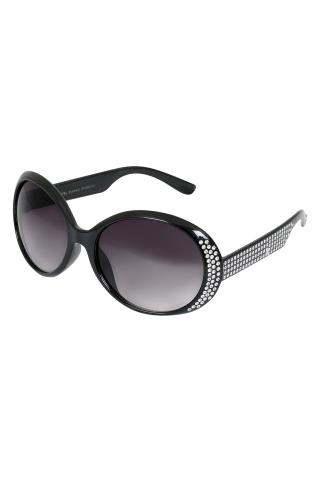 Sunglasses Black Oval Diamante Embellished Sunglasses With UV 400 Protection 152206