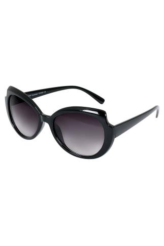 Sunglasses Black Oval Frame Sunglasses With Cut Out Detail & UV 400 Protection 152208
